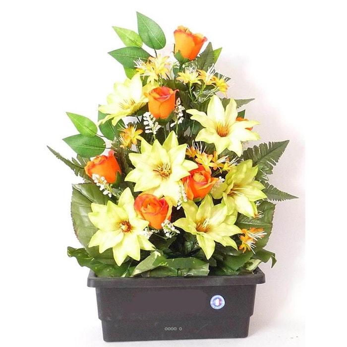 composition jardiniere de rose clematite artificiels lestee exterieur h 55 cm l 35 cm orange. Black Bedroom Furniture Sets. Home Design Ideas