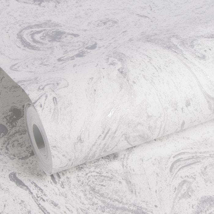 Elle Papier Peint Intisse Marbre Gris Blanc Argent Antracite 10