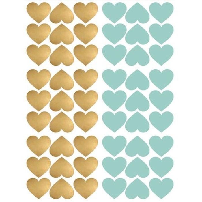 70d8c4a2fe90d4 Wall Stickers - Coeurs - Bleu Et Or - Coloris - Bleu
