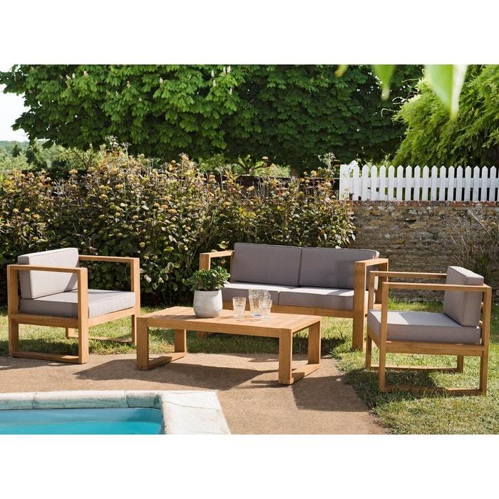 Salon de jardin en teck et coussins canapé 2 places + 2 fauteuils + 1 table  basse SUMMER 4 places