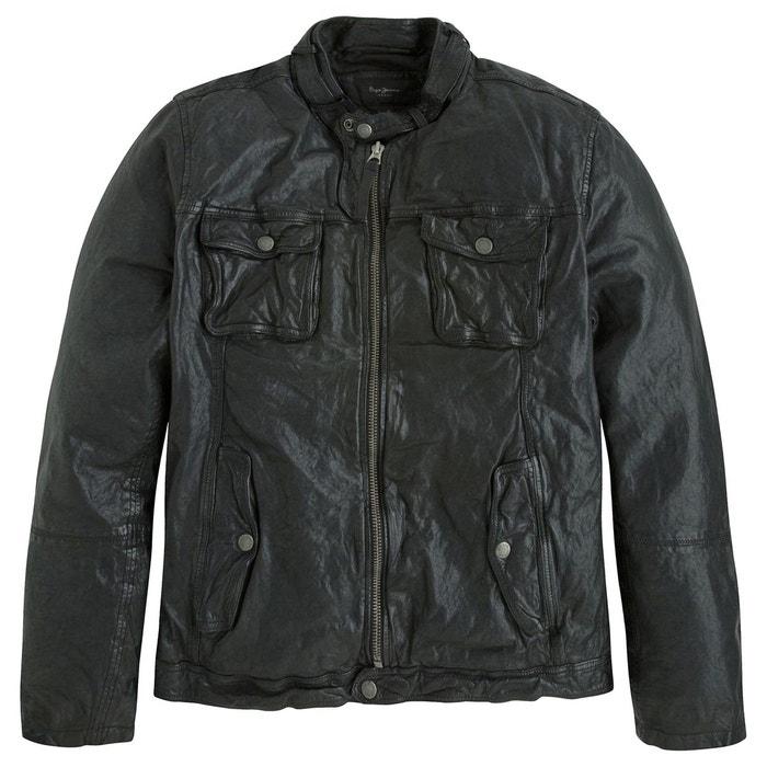 Blouson ryan style motard en cuir noir Pepe Jeans