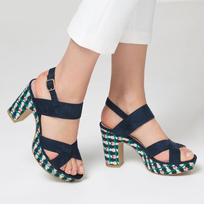 Sandales synthétique bleu multicolore Mademoiselle R