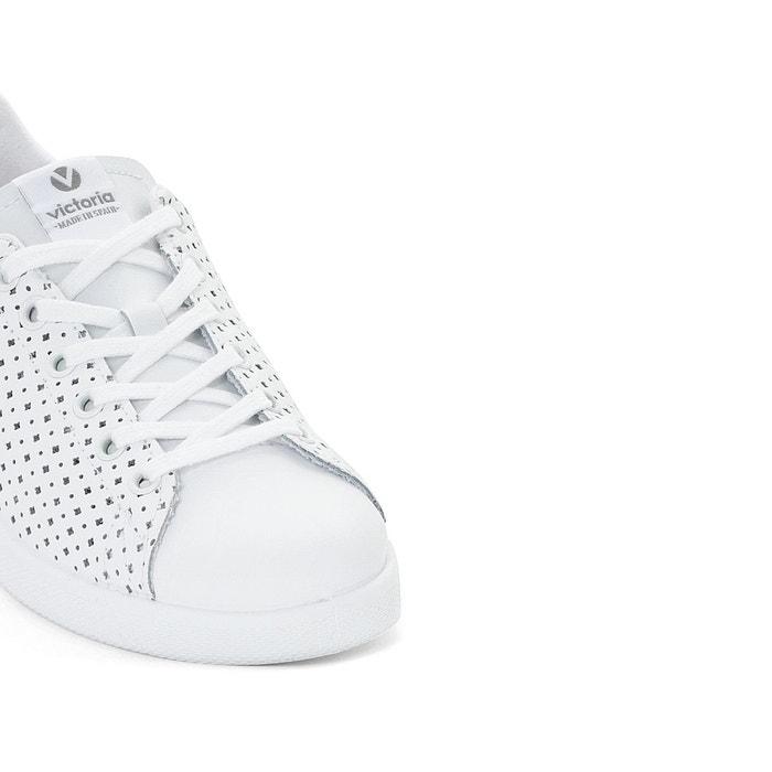 Baskets deportivo piel perforado blanc Victoria