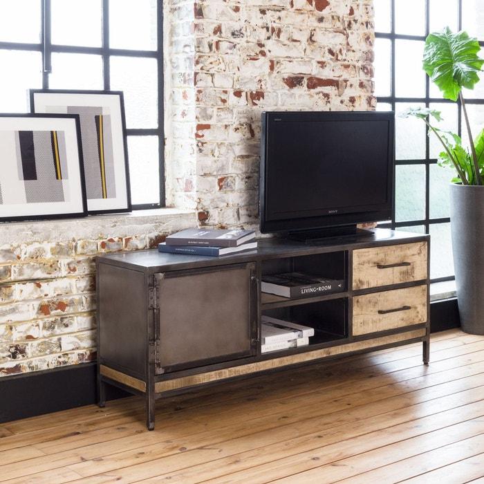Meuble TV industriel 1 porte, 2 tiroirs manguier et métal | IF887