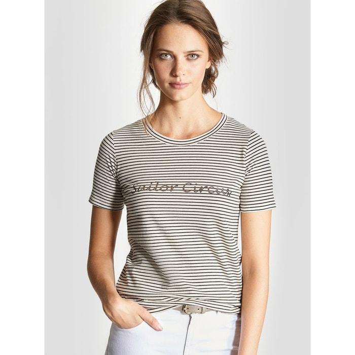 Femme La Cyrillus Shirt Blanc Glitter Redoute Multico T Rayé U1Zww