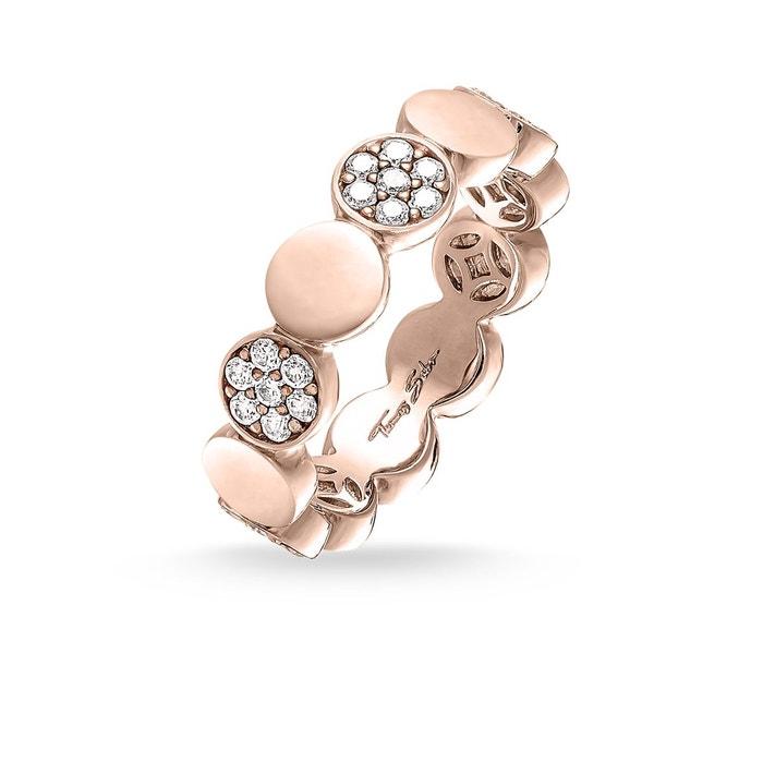 THOMAS SABO Bague Sparkling Circles Bague Argent sterling 925   plaqué or  rose 18 carats THOMAS fc9ed72d51a9