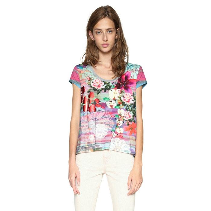 Floral Print Short-Sleeved Crew Neck T-Shirt  DESIGUAL image 0