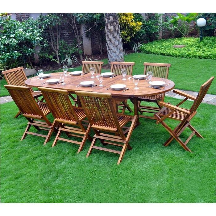Salon de jardin en teck pour 8 10 personnes couleur - Salon jardin la redoute ...