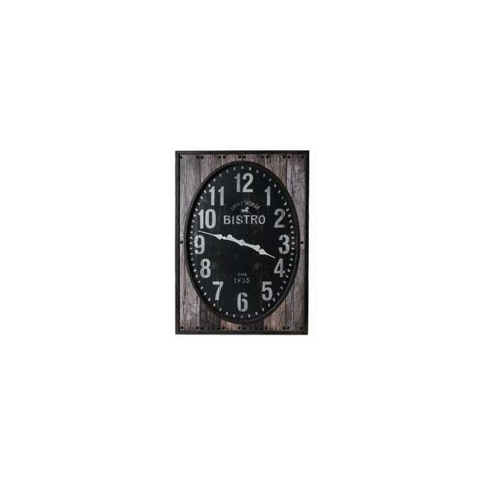 Horloge rectangulaire 39 bistrot 39 xxl 100x72x7 5cm style vintage avec contour en bois gris et for Horloge murale style bistrot