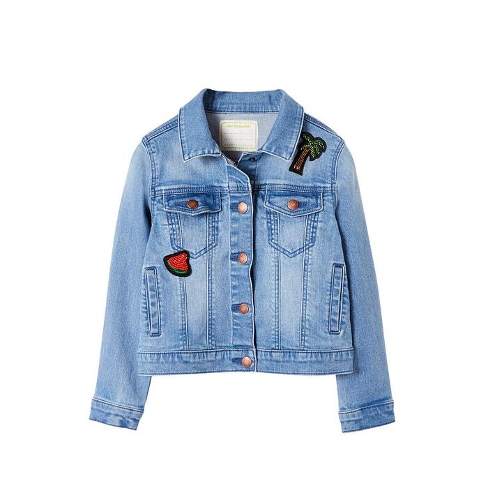 Veste jean fille à badges et sequins stone Vertbaudet  825ffd32259