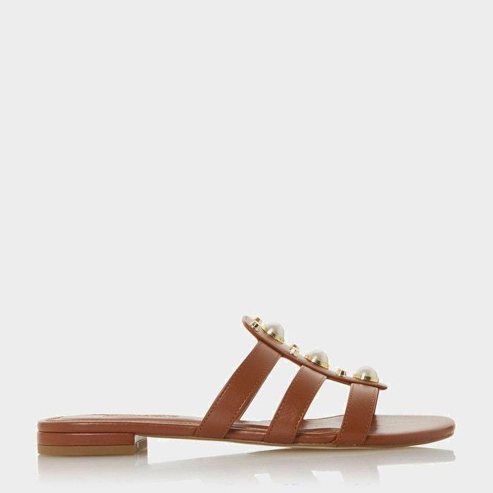 Sandales plates ornées de perles et de clous nikole Dune