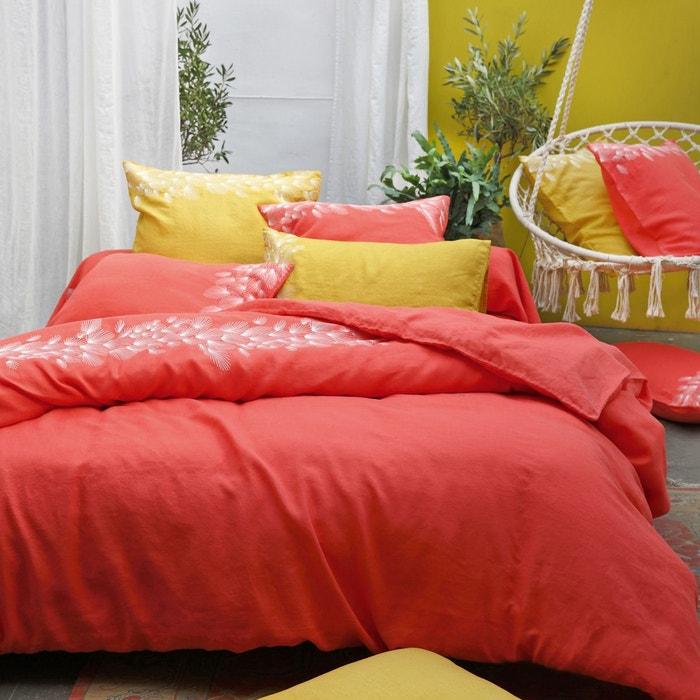 housse de couette lin lav slow corail couleur unique sylvie thiriez la redoute. Black Bedroom Furniture Sets. Home Design Ideas