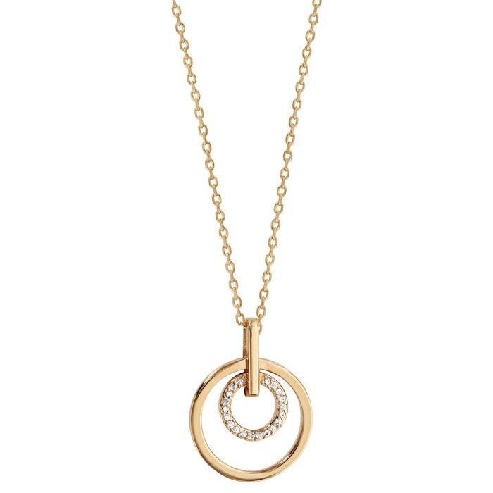 Collier 45 cm pendentif 2 anneaux lisse & oxyde de zirconium blanc plaqué or 750 couleur unique So Chic Bijoux | La Redoute Acheter En Ligne Authentique x4oaQs