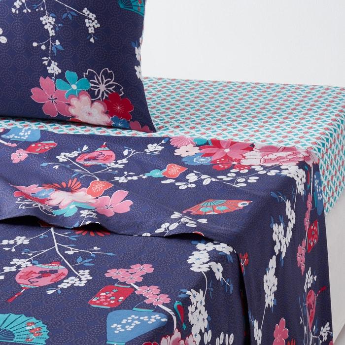 drap plat imprim miss shangha la redoute interieurs imprim bleu fonc la redoute. Black Bedroom Furniture Sets. Home Design Ideas