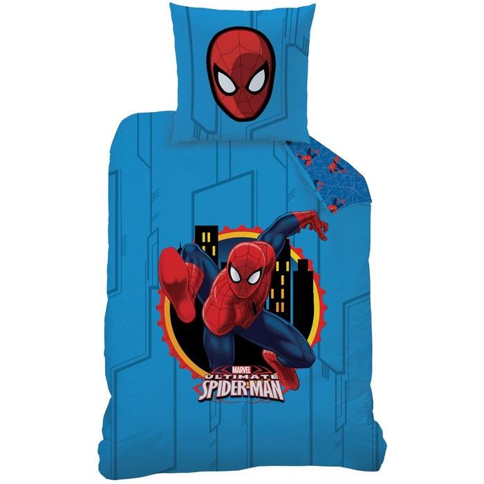 Housse de couette et taie d 39 oreiller 140x200 cm spiderman window polycoto - Taie d oreiller spiderman ...