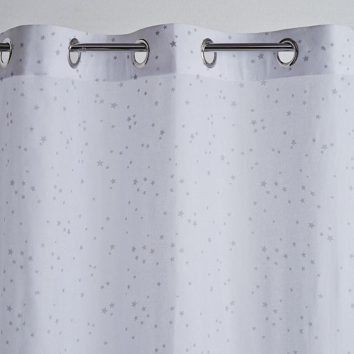 voilage pur coton oeillets etoiles gris blanc la redoute interieurs la redoute. Black Bedroom Furniture Sets. Home Design Ideas