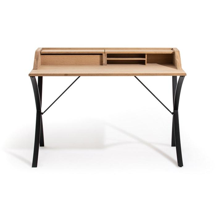 Épitre Solid Oak Metal Secretary Desk