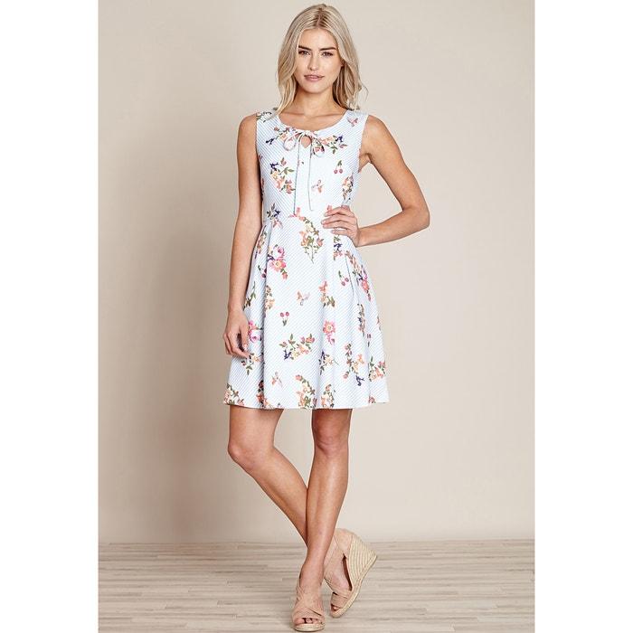 Striped Floral Print Dress  YUMI image 0