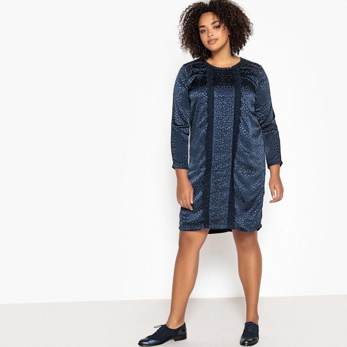153a4a08432 Платье-миди прямое жаккардовое с кружевными вставками синий морской  CASTALUNA