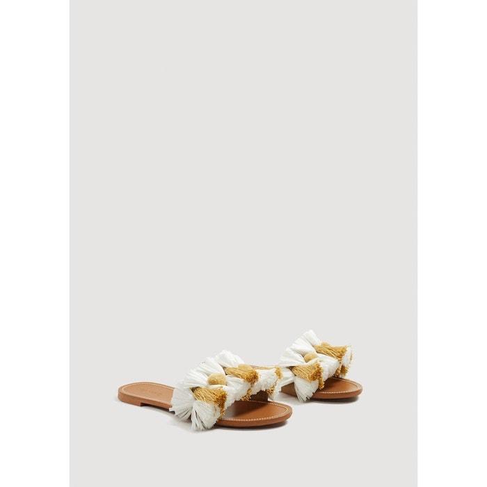 Sandales plates pompons Mango