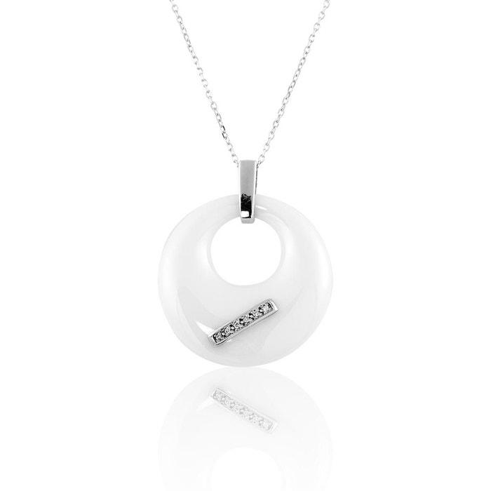 Collier en or 375/1000 argenté et diamant blanc blanc Cleor | La Redoute Coût À Vendre Peu Coûteux Vente Parfaite Date De Sortie Nice Vente En Ligne hYiYW