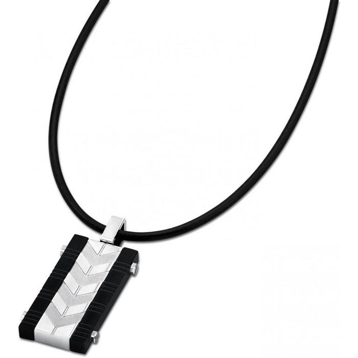 collier cordon cuir pour homme et son pendentif en acier lotus style ls1729 1 2 acier lotus la