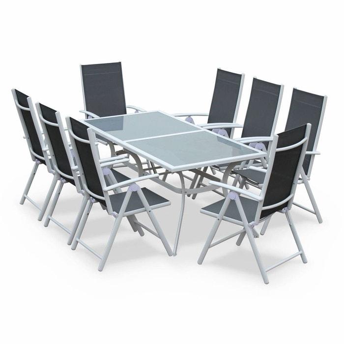 salon de jardin en aluminium table 8 places blanc et gris textil ne fauteuil blanc gris alice s. Black Bedroom Furniture Sets. Home Design Ideas