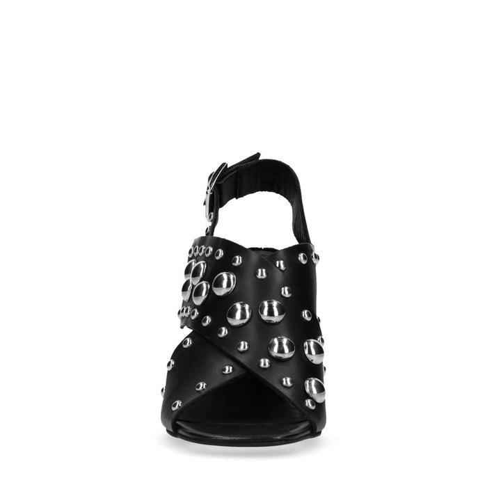 Sandales à talon avec clous noir Sacha