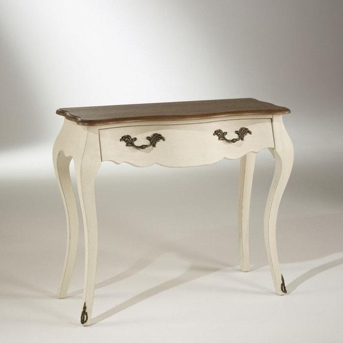 Console 90 cm plateau ch ne ninon blanc d 39 ivoire robin for Meuble blanc d ivoire