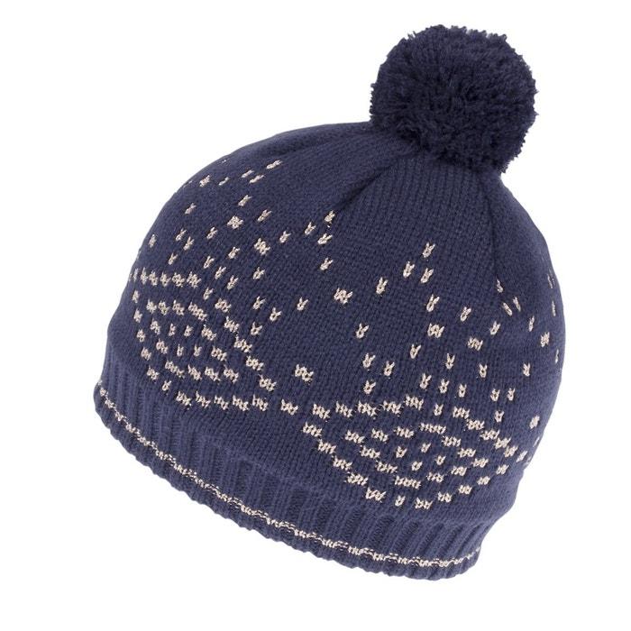Bonnet enfant jacquard géométrique fil textile marine Isotoner   La Redoute 6c70dd777aa