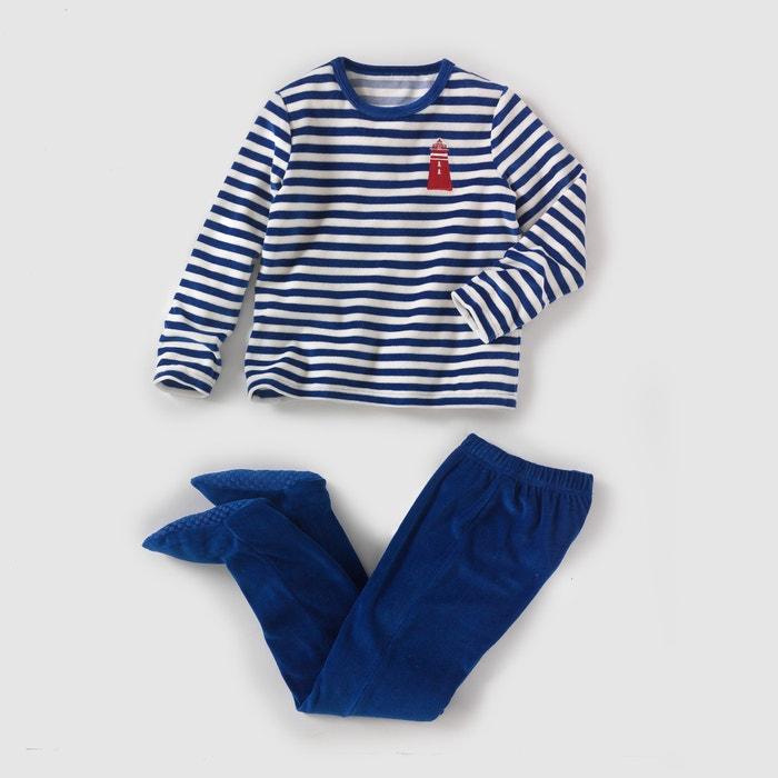 afbeelding Pyjama in fluweel met voetjes 2-12 jr La Redoute Collections