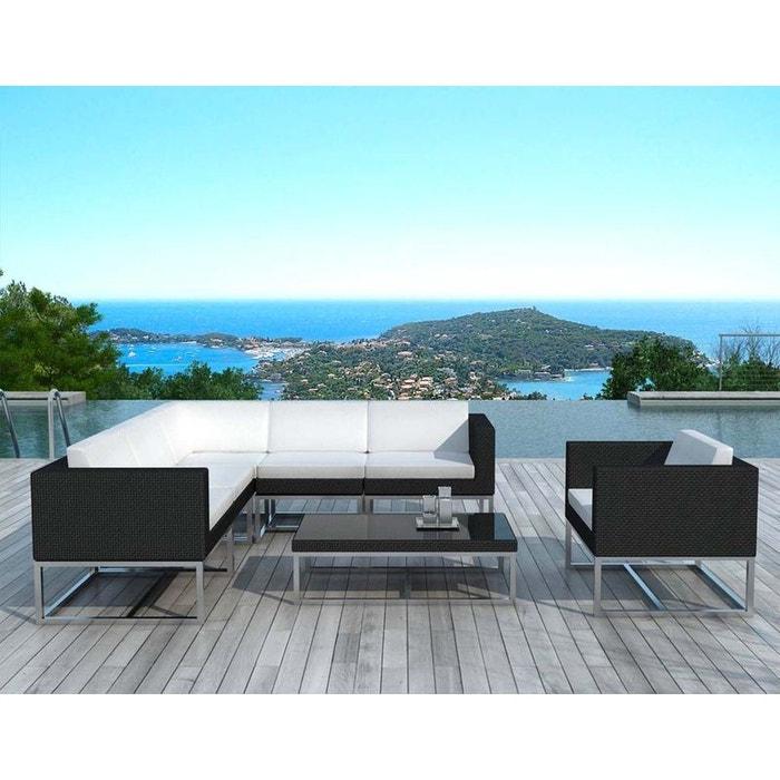 Salon de jardin design 7 éléments en résine noire coussins écrus