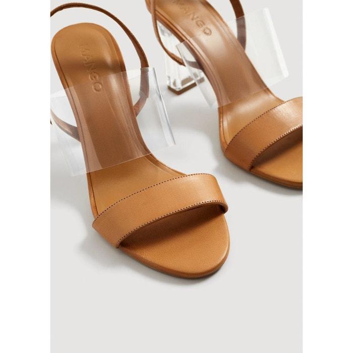 Sandales cuir talon marron moyen Mango