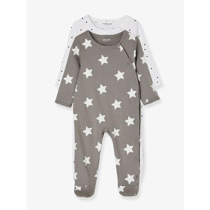 lot de 2 pyjamas b b coton pressionn devant gris. Black Bedroom Furniture Sets. Home Design Ideas