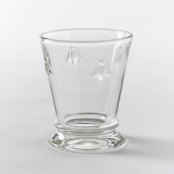 lot 6 verres eau d cor abeilles verre transparent la. Black Bedroom Furniture Sets. Home Design Ideas