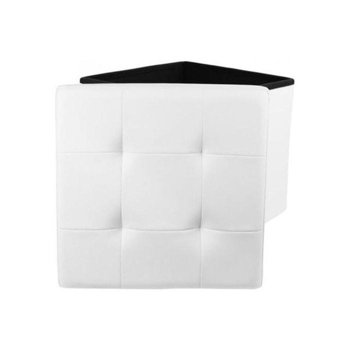 532fd761ed5fd9 Coffre Pouf Pliable Blanc Impression Cuir YSSE DECLIKDECO image 0. Ce  produit a bien été ajouté à votre liste de préférés.