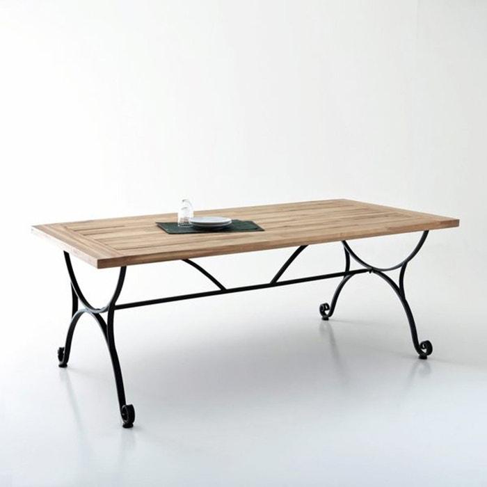 Table de jardin, acacia et fer forgé Féréol