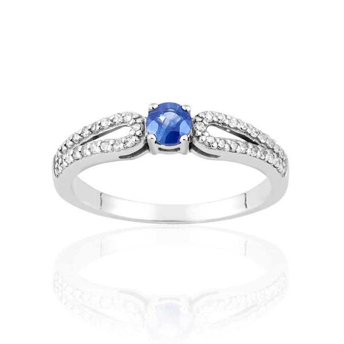 Bague en or 750/1000 blanc, saphir bleu et diamant bleu Cleor | La Redoute