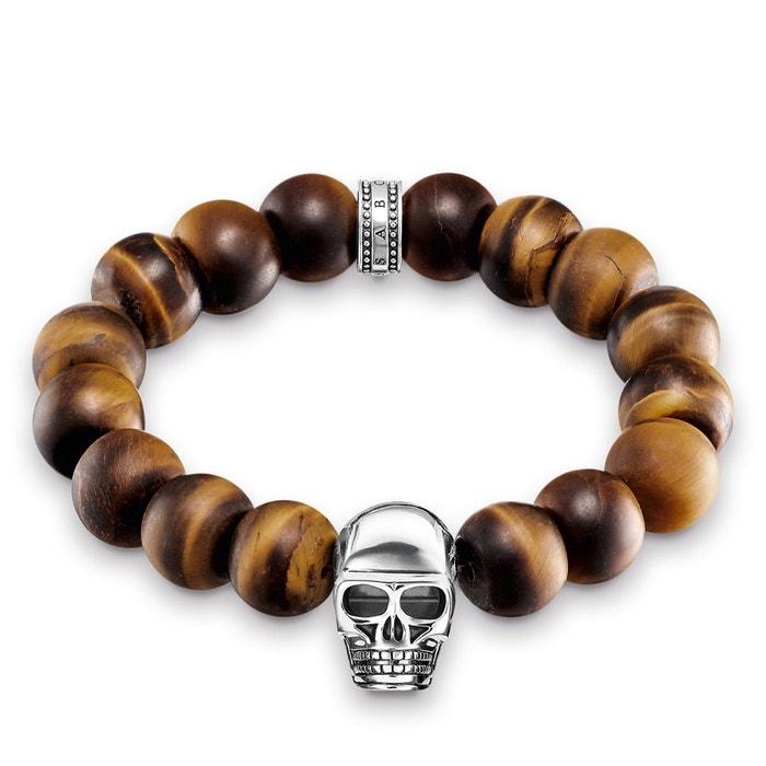 Bracelet power bracelet tête de mort marron argenté, marron Thomas Sabo | La Redoute