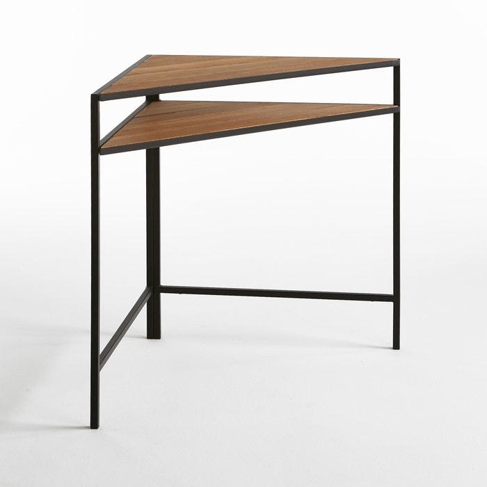 Metal and Acacia Corner Table.