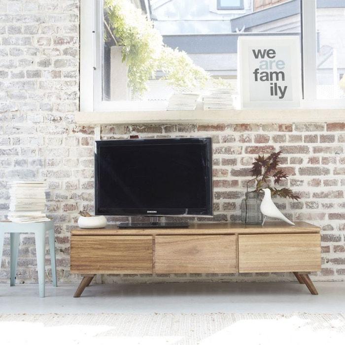 Meuble tv en bois de mindy 150 oslo naturel bois dessus - Meuble de tele en bois ...