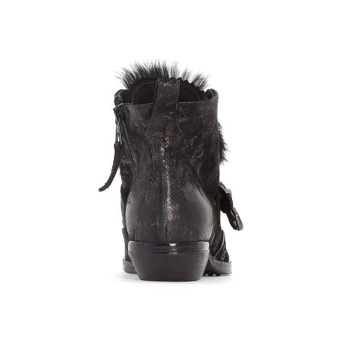 Boots cuir chrissie noir/imprimé Mjus