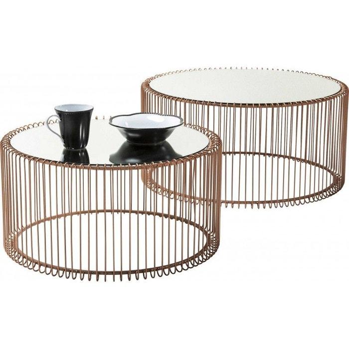 1f50ca1b486481 Tables basses rondes wire cuivre set de 2 kare design cuivre Kare Design    La Redoute