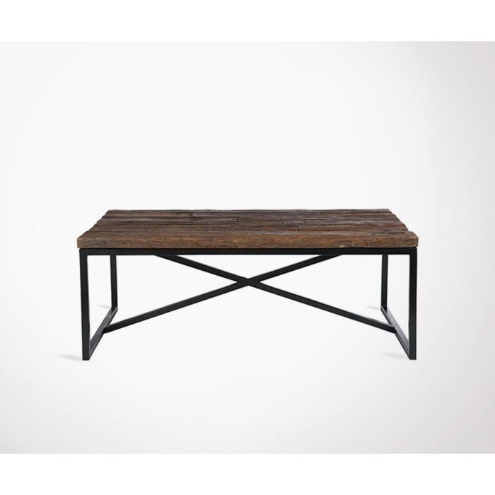 Grande table basse rustique métal bois TRUST - 120 cm