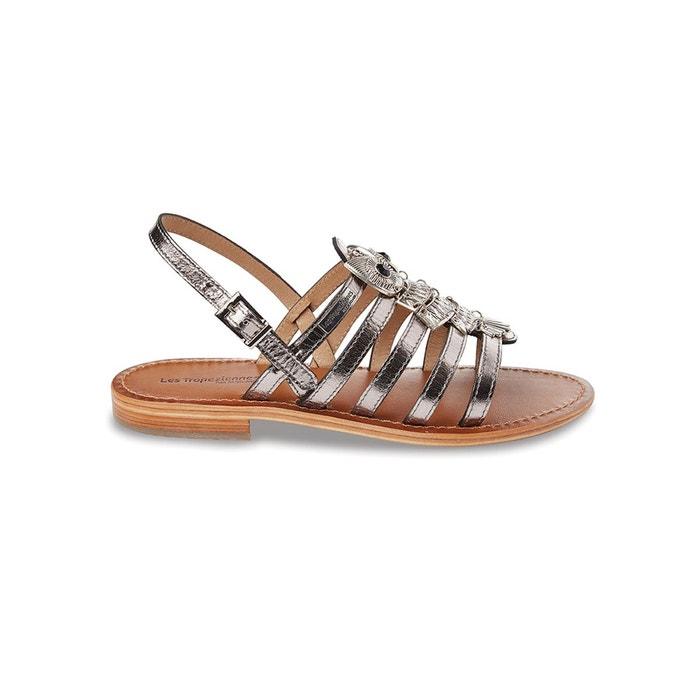 sandales cuir plates bijoux gris les tropeziennes par m belarbi la redoute. Black Bedroom Furniture Sets. Home Design Ideas