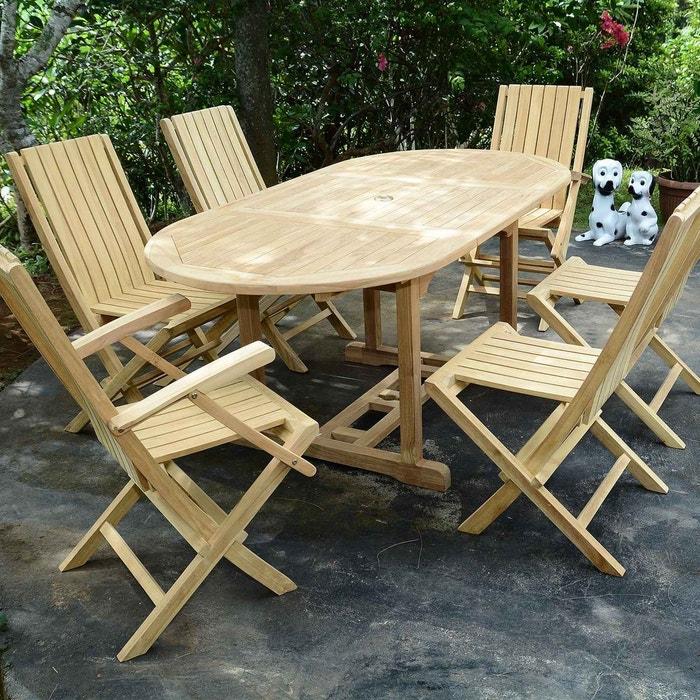 Salon de jardin en teck qualité ecograde maldives, 6 places naturel ...