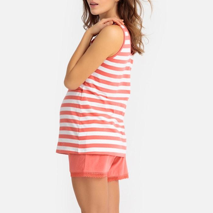 534a7ecbb0c Pijama con short para embarazo y lactancia rayas coral La Redoute ...