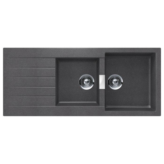 evier cristadur schock signus ev22421 stone 068 2 bacs gris anthracite schock la redoute. Black Bedroom Furniture Sets. Home Design Ideas