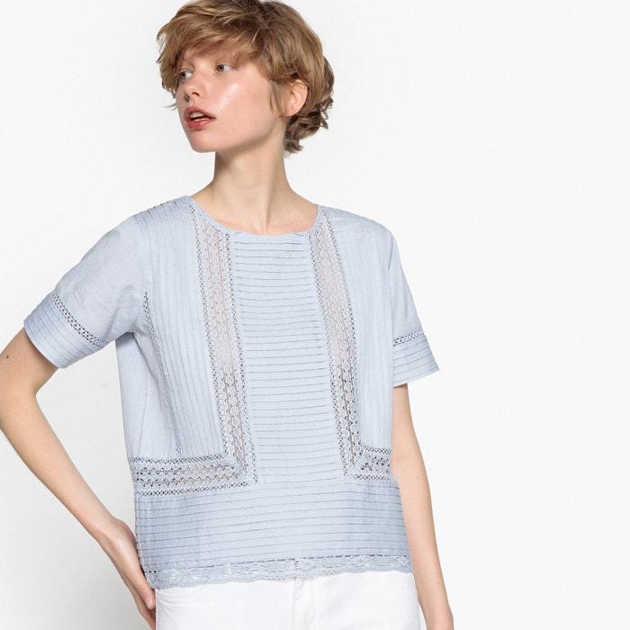 Блузка с кружевом и плиссировкой, хлопок и лён