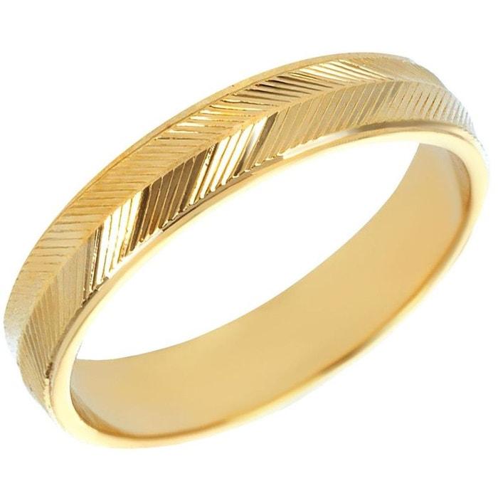 Bague anneau strillé effet diamanté plaqué or 750 jaune couleur unique So Chic Bijoux | La Redoute Pas Cher Bonne Vente 5yYmD